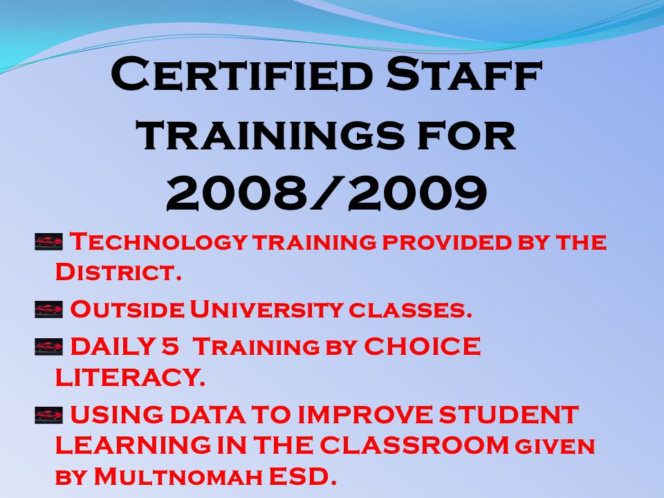 Certified Staff trainings for 2008/2009 Technology training provided by the District.