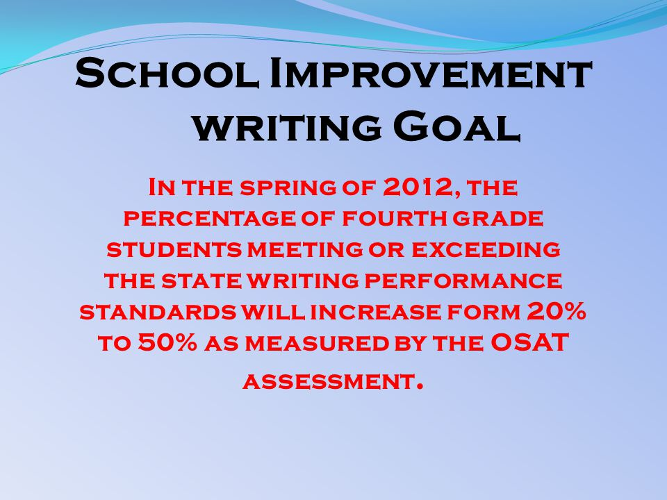School Improvement writing Goal In the spring of 2012, the percentage of fourth grade students meeting or exceeding the state writing performance standards will increase form 20% to 50% as measured by the OSAT assessment.
