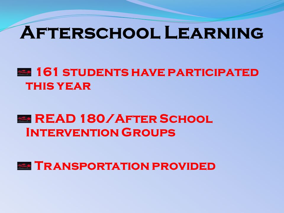 Afterschool Learning 161 students have participated this year READ 180/After School Intervention Groups Transportation provided