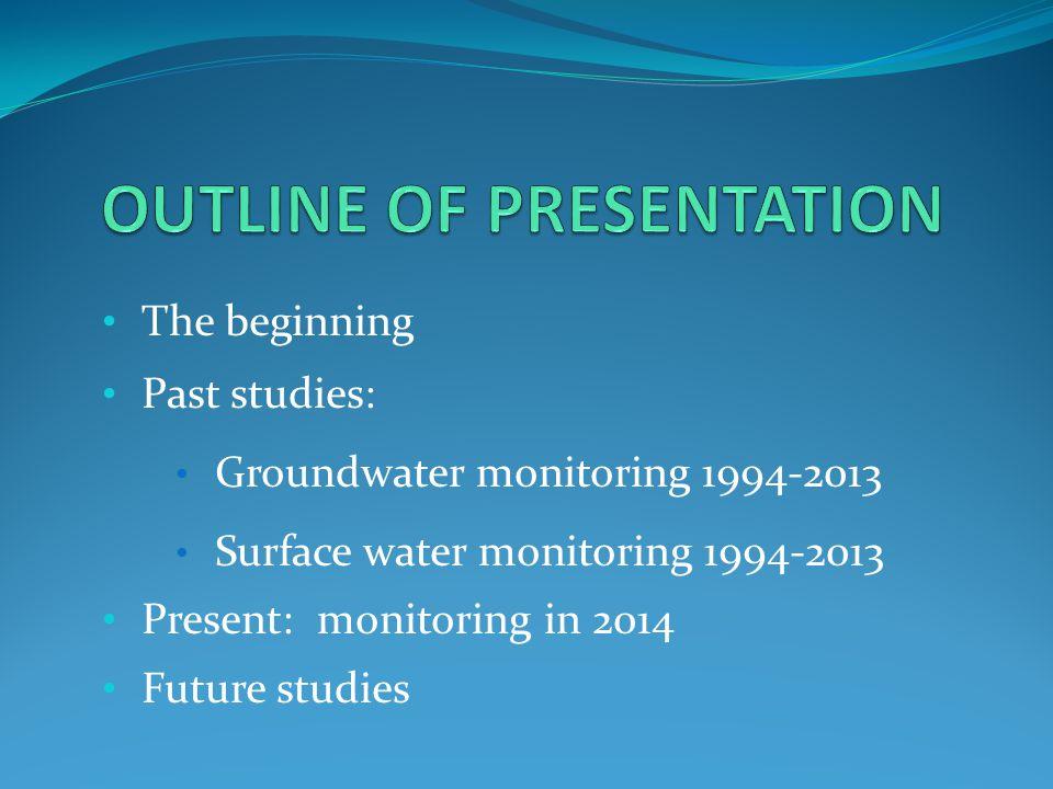 The beginning Past studies: Groundwater monitoring 1994-2013 Surface water monitoring 1994-2013 Present: monitoring in 2014 Future studies