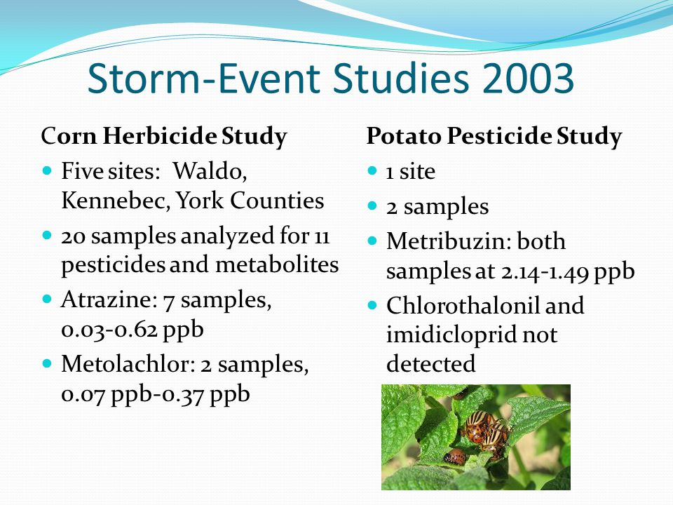 Storm-Event Studies 2003 Corn Herbicide Study Five sites: Waldo, Kennebec, York Counties 20 samples analyzed for 11 pesticides and metabolites Atrazin