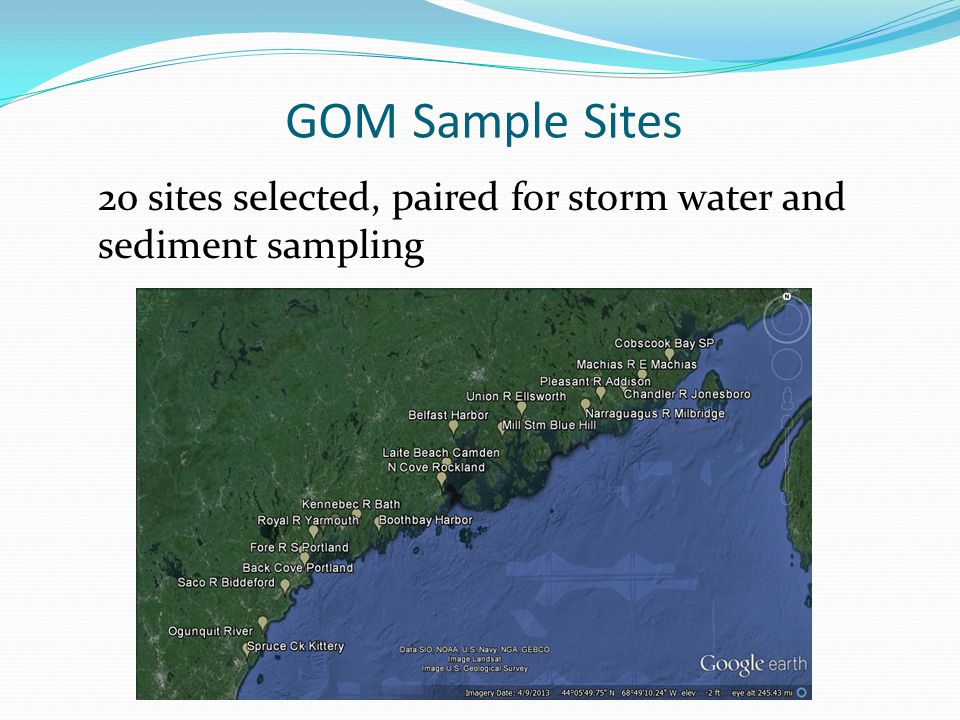 GOM Sample Sites 20 sites selected, paired for storm water and sediment sampling