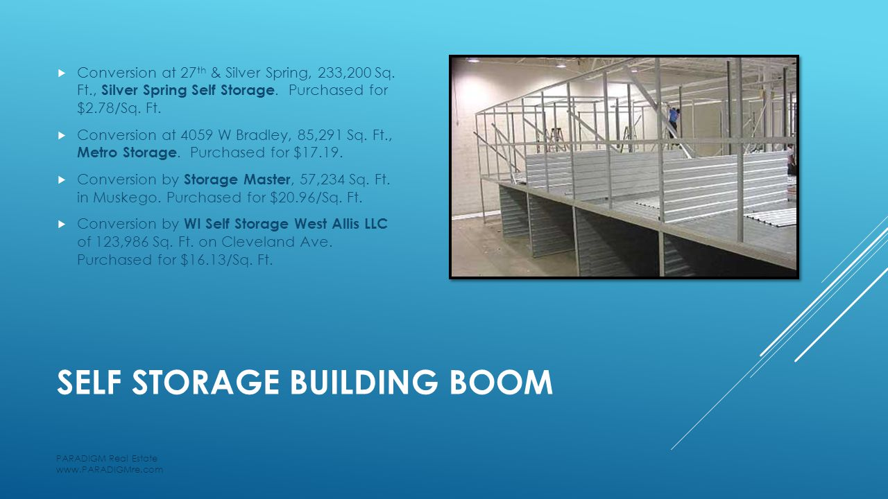 SELF STORAGE BUILDING BOOM  Conversion at 27 th & Silver Spring, 233,200 Sq.