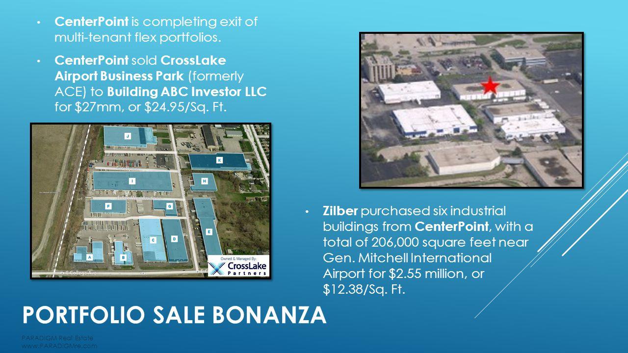 PORTFOLIO SALE BONANZA CenterPoint is completing exit of multi-tenant flex portfolios.