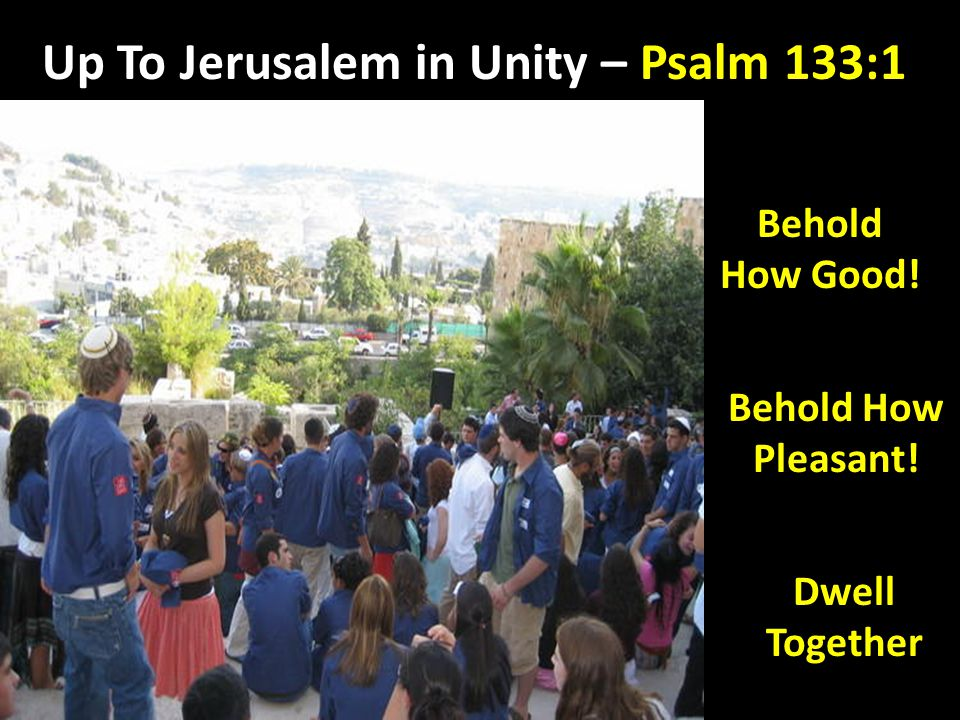 Up To Jerusalem in Unity – Psalm 133:1 Behold How Good! Behold How Pleasant! Dwell Together