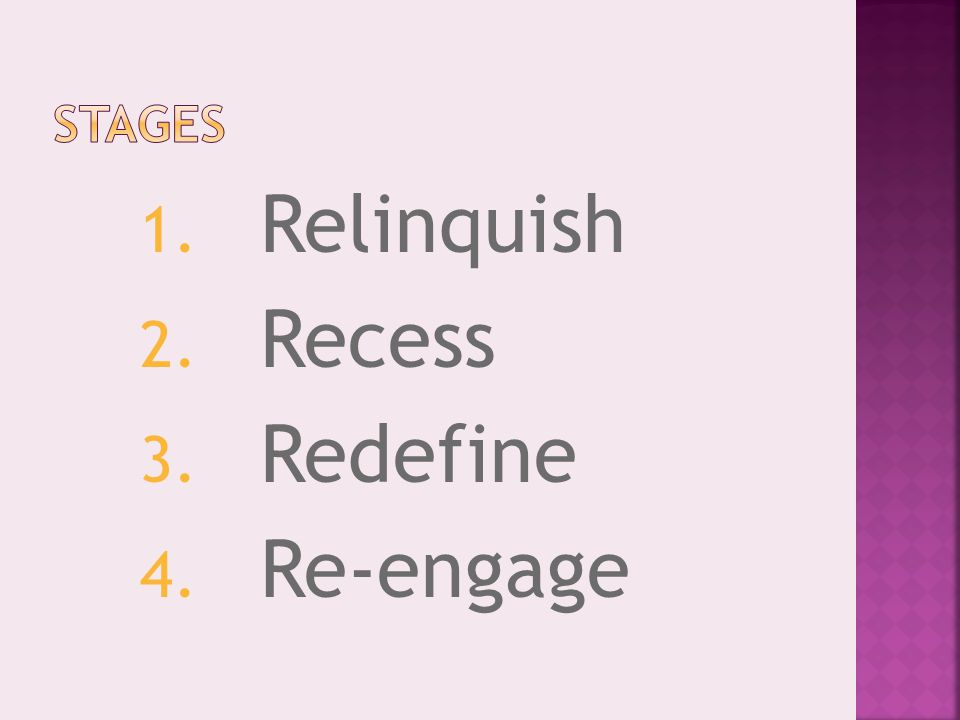 1. Relinquish 2. Recess 3. Redefine 4. Re-engage