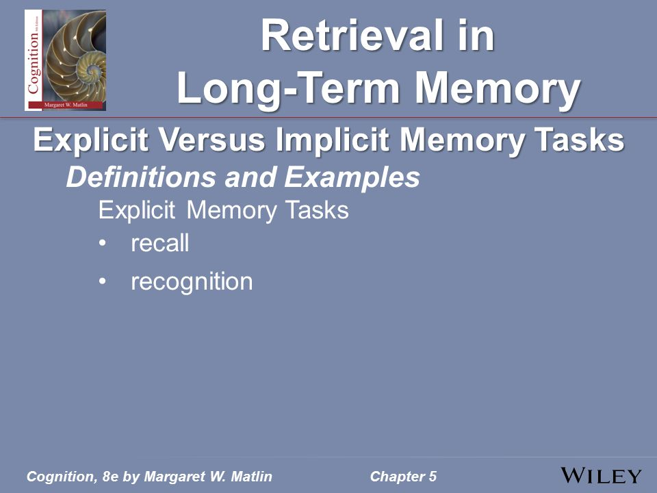 Cognition, 8e by Margaret W. MatlinChapter 5 Retrieval in Long-Term Memory Explicit Versus Implicit Memory Tasks Definitions and Examples Explicit Mem