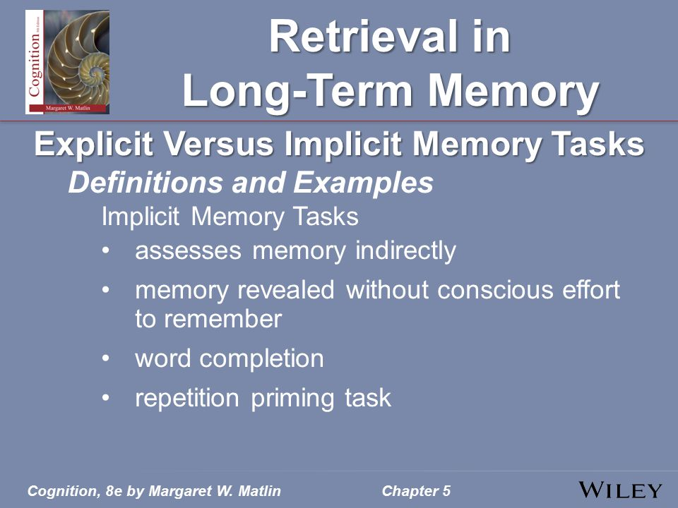 Cognition, 8e by Margaret W. MatlinChapter 5 Retrieval in Long-Term Memory Explicit Versus Implicit Memory Tasks Definitions and Examples Implicit Mem