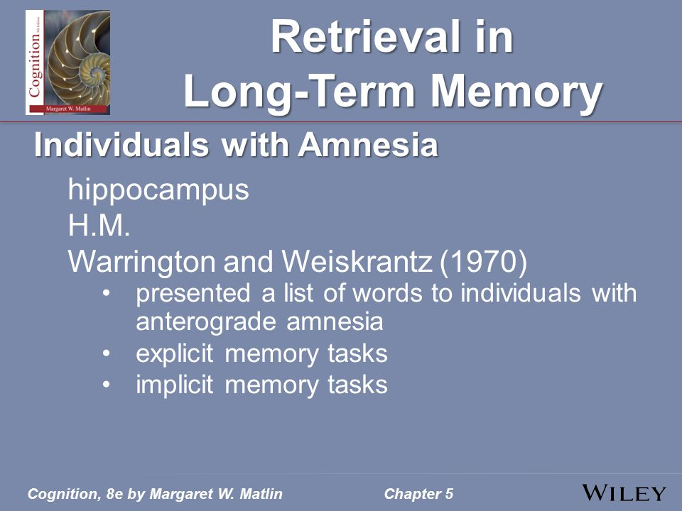 Cognition, 8e by Margaret W. MatlinChapter 5 Retrieval in Long-Term Memory Individuals with Amnesia hippocampus H.M. Warrington and Weiskrantz (1970)