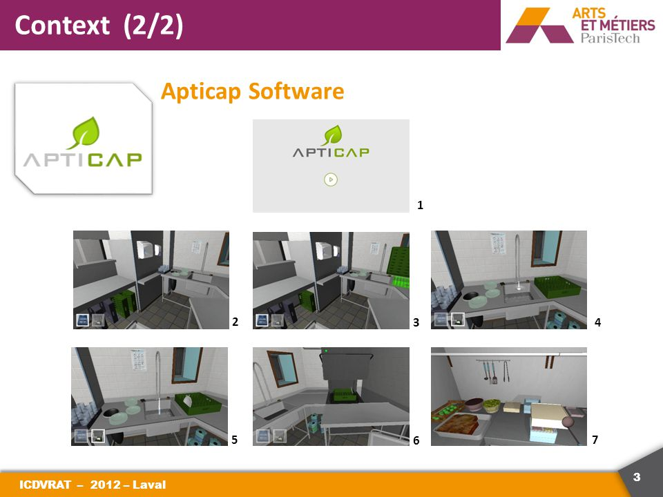 3 Context (2/2) Apticap Software ICDVRAT – 2012 – Laval 2 3 1 4 5 6 7