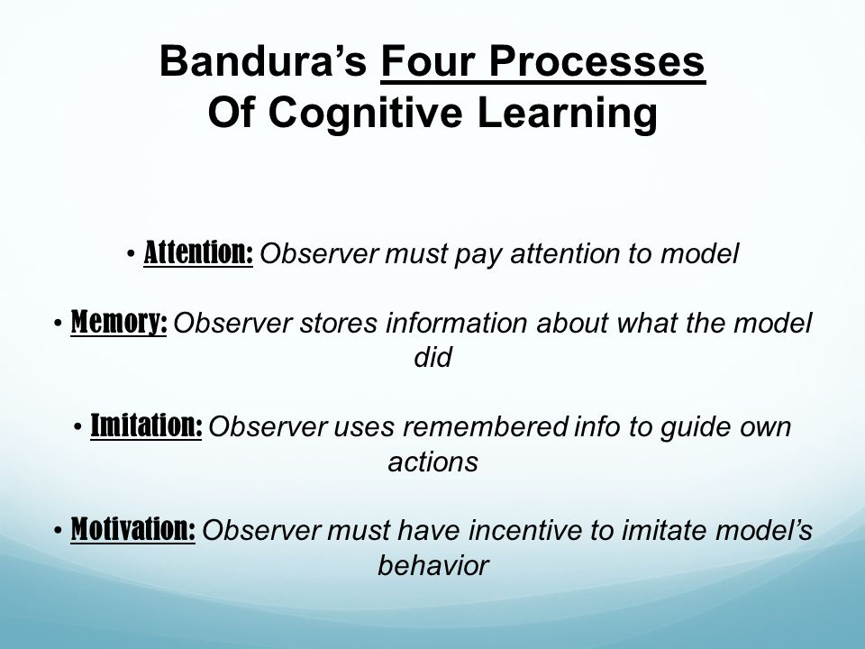 Bandura's Four Processes Of Cognitive Learning Attention: Observer must pay attention to model Memory: Observer stores information about what the mode