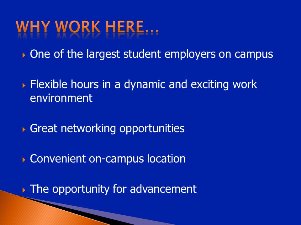  One of the largest student employers on campus  Flexible hours in a dynamic and exciting work environment  Great networking opportunities  Convenient on-campus location  The opportunity for advancement