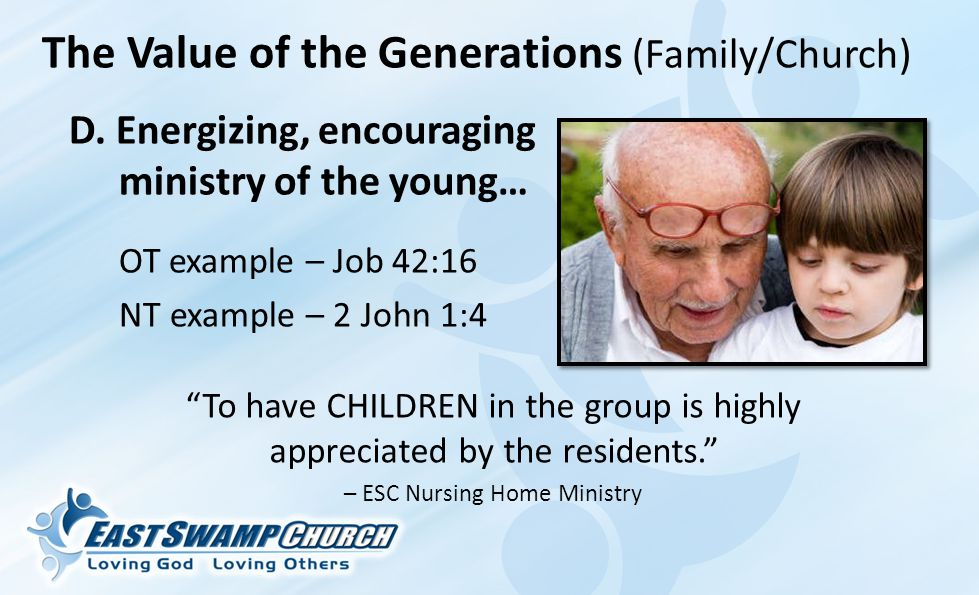 The Value of the Generations (Family/Church) D.