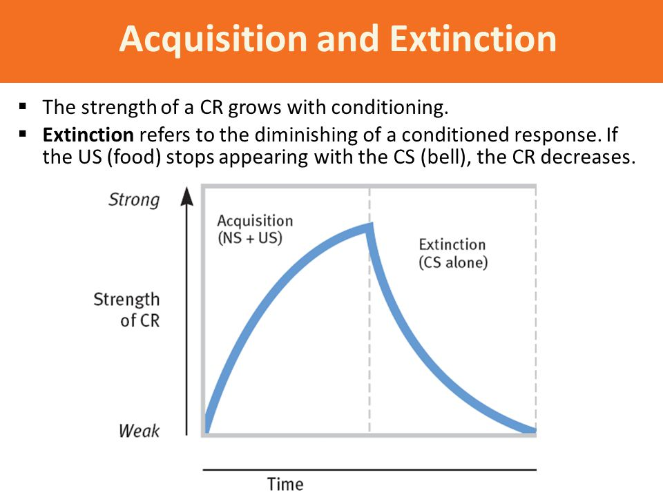 Acquisition and Extinction  The strength of a CR grows with conditioning.  Extinction refers to the diminishing of a conditioned response. If the US