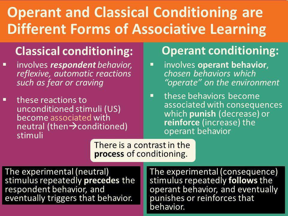Classical conditioning: Operant conditioning: Operant and Classical Conditioning are Different Forms of Associative Learning  involves respondent beh
