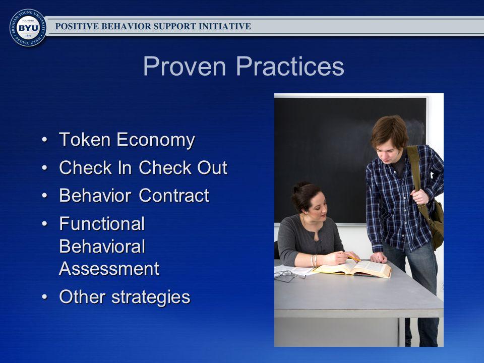 Proven Practices Token EconomyToken Economy Check In Check OutCheck In Check Out Behavior ContractBehavior Contract Functional Behavioral AssessmentFu