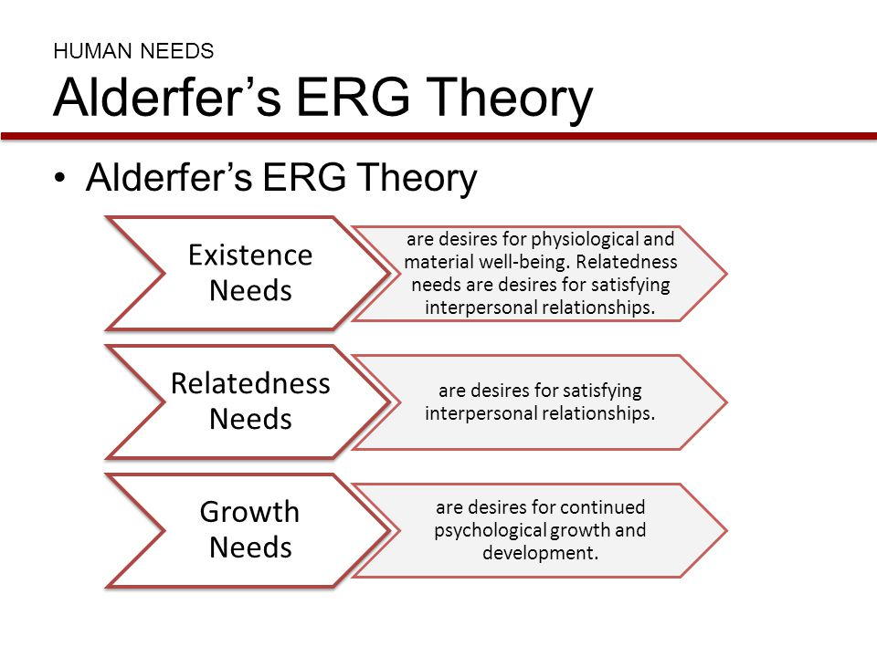HUMAN NEEDS Alderfer's ERG Theory Alderfer's ERG Theory Existence Needs are desires for physiological and material well-being. Relatedness needs are d