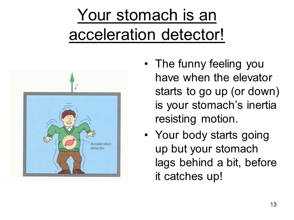 Your stomach is an acceleration detector! The funny feeling you have when the elevator starts to go up (or down) is your stomach's inertia resisting m