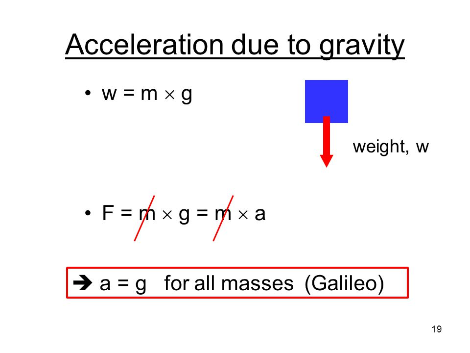 Acceleration due to gravity w = m  g F = m  g = m  a weight, w 19  a = g for all masses (Galileo)
