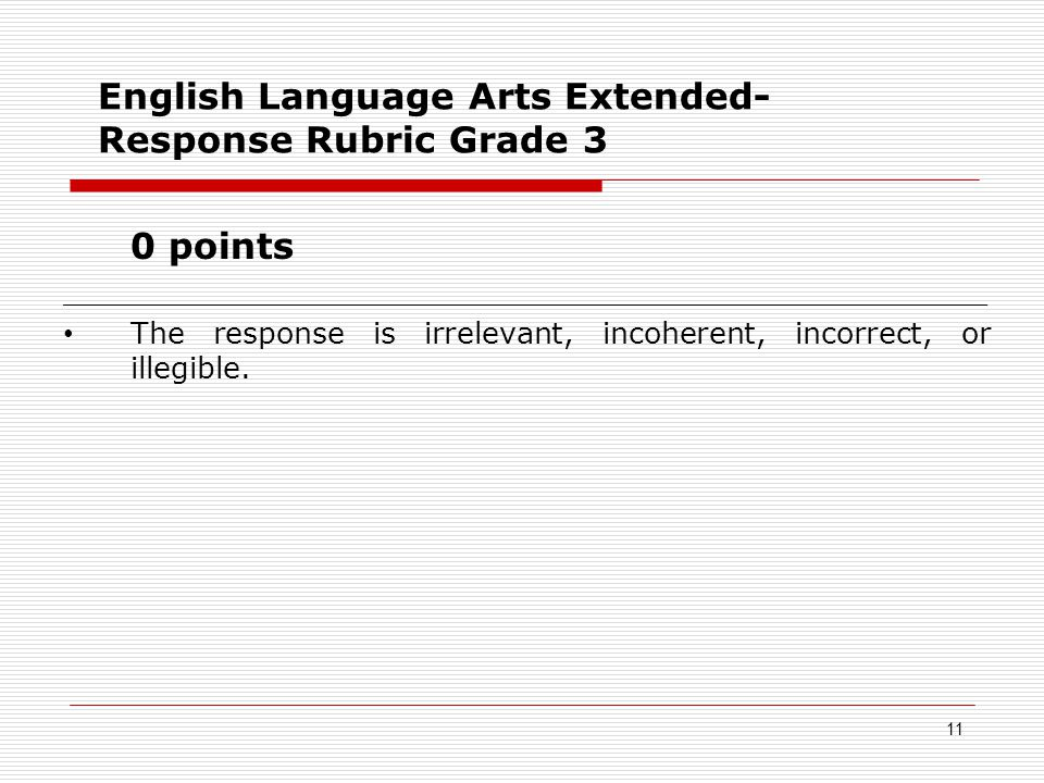 English Language Arts Extended- Response Rubric Grade 3 0 points __________________________________________________ The response is irrelevant, incoherent, incorrect, or illegible.