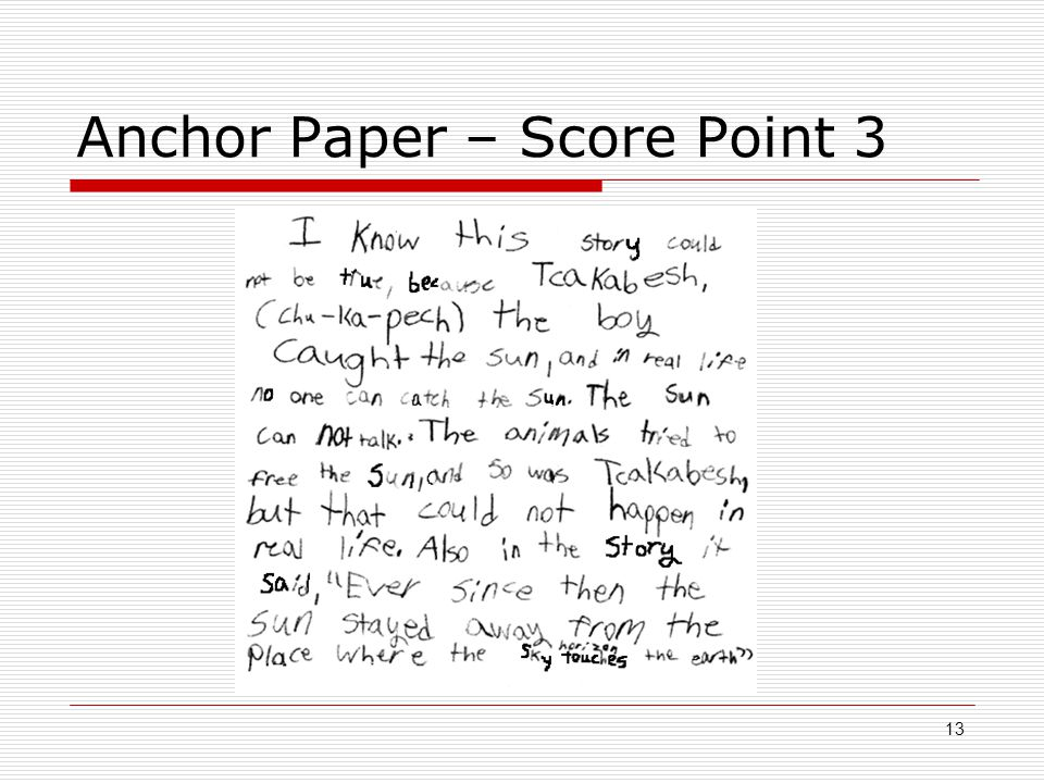 Anchor Paper – Score Point 3 13
