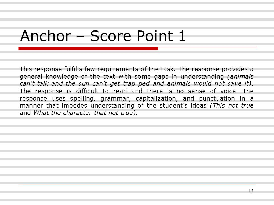 Anchor – Score Point 1 This response fulfills few requirements of the task.