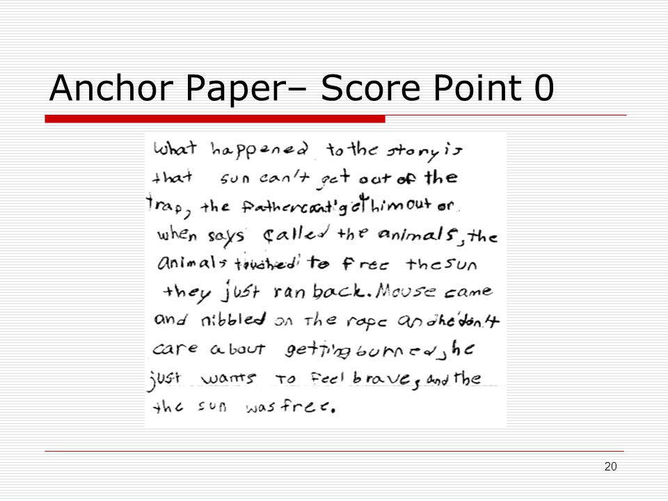 Anchor Paper– Score Point 0 20