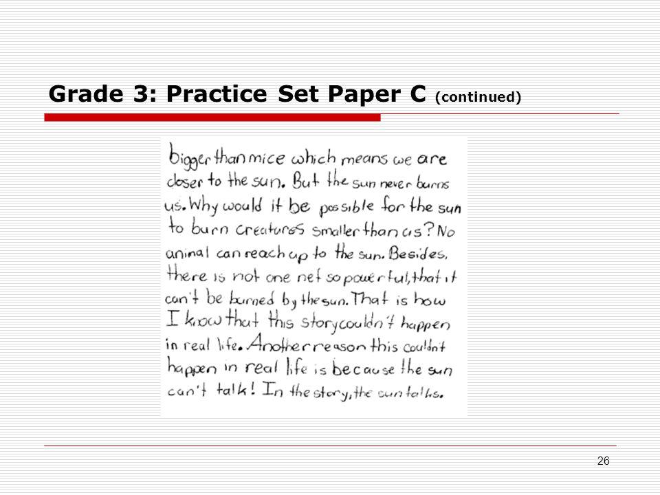 Grade 3: Practice Set Paper C (continued) 26