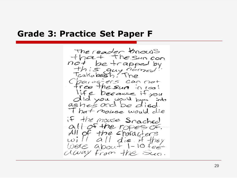 Grade 3: Practice Set Paper F 29