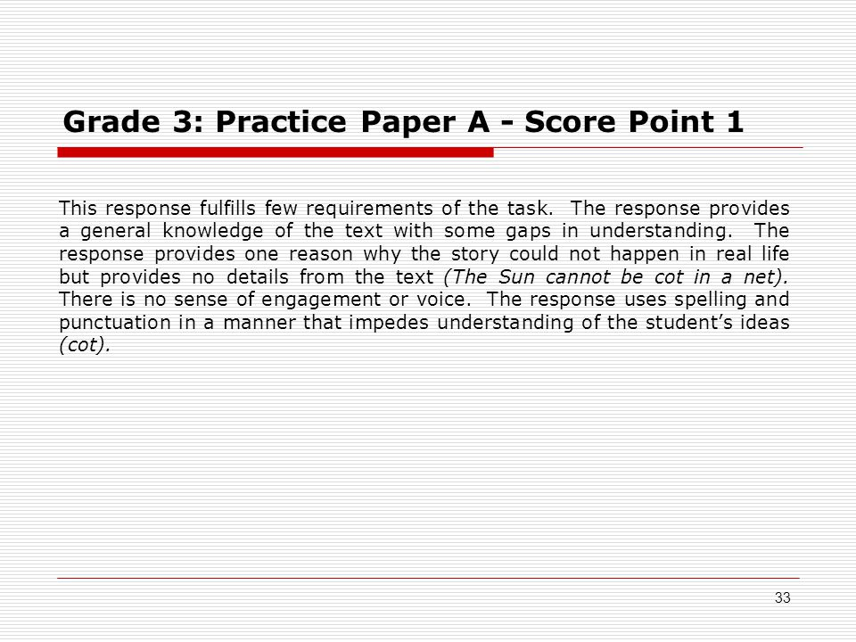 Grade 3: Practice Paper A - Score Point 1 This response fulfills few requirements of the task.