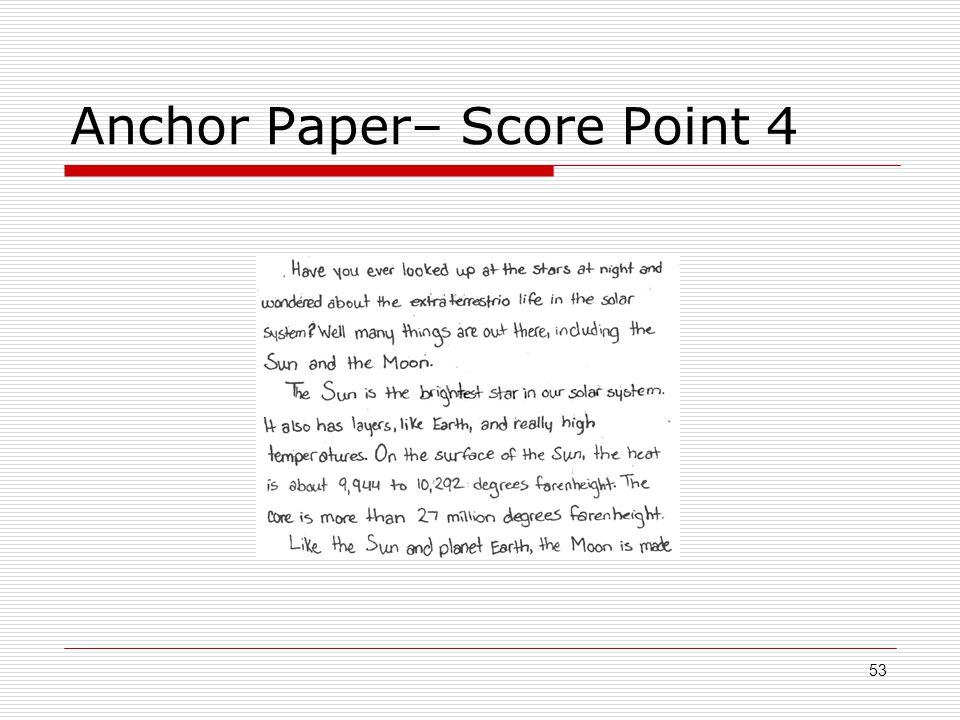 Anchor Paper– Score Point 4 53