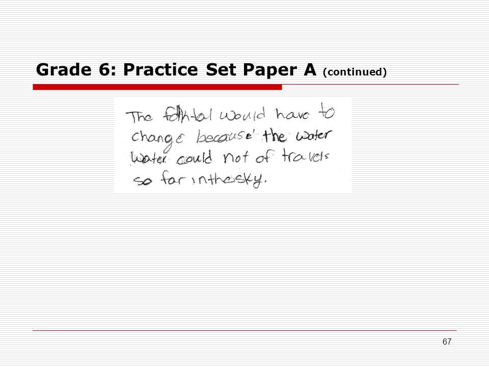 Grade 6: Practice Set Paper A (continued) 67