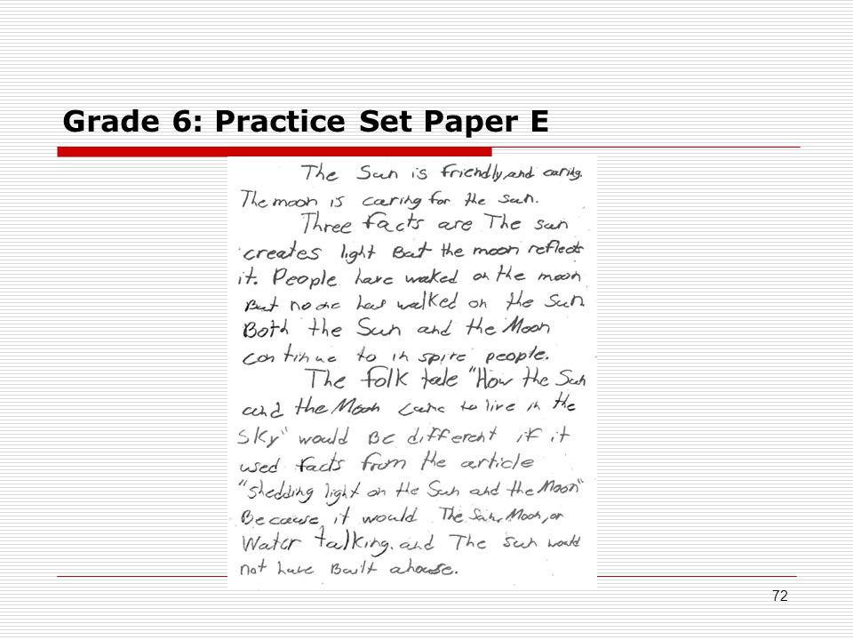 Grade 6: Practice Set Paper E 72