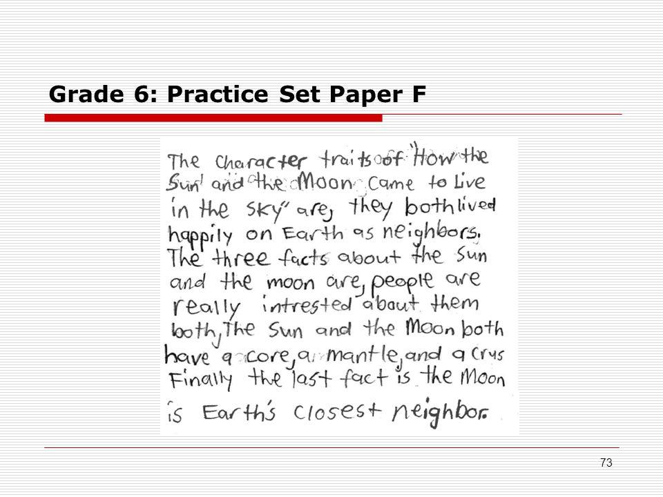 Grade 6: Practice Set Paper F 73