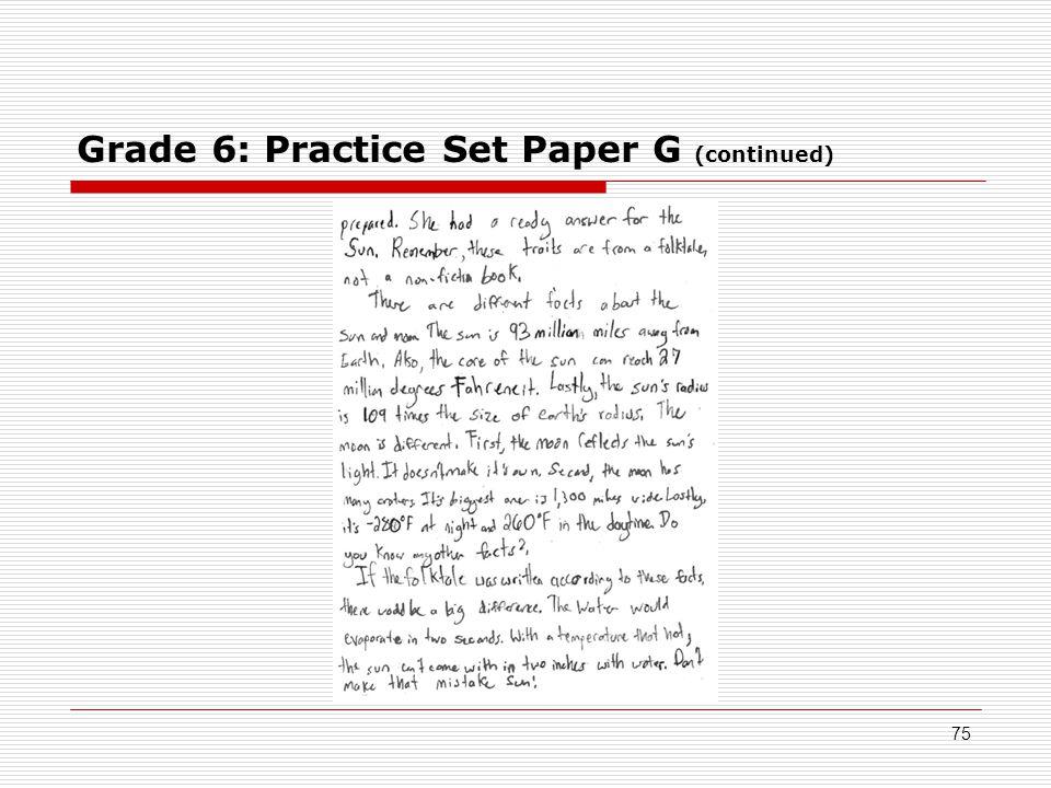 Grade 6: Practice Set Paper G (continued) 75