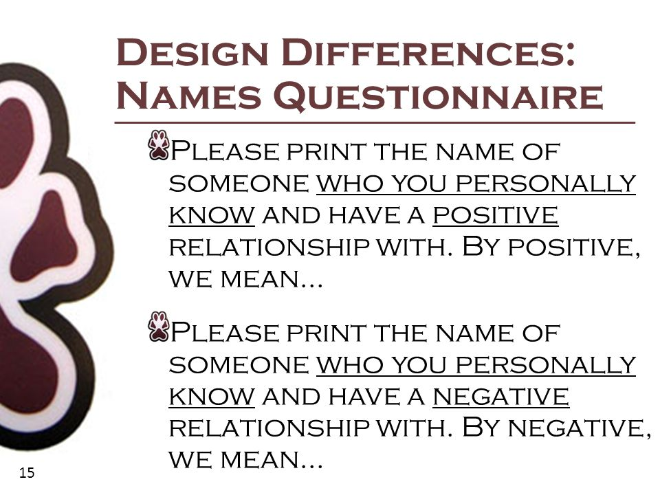 15 Design Differences: Names Questionnaire Please print the name of someone who you personally know and have a positive relationship with.
