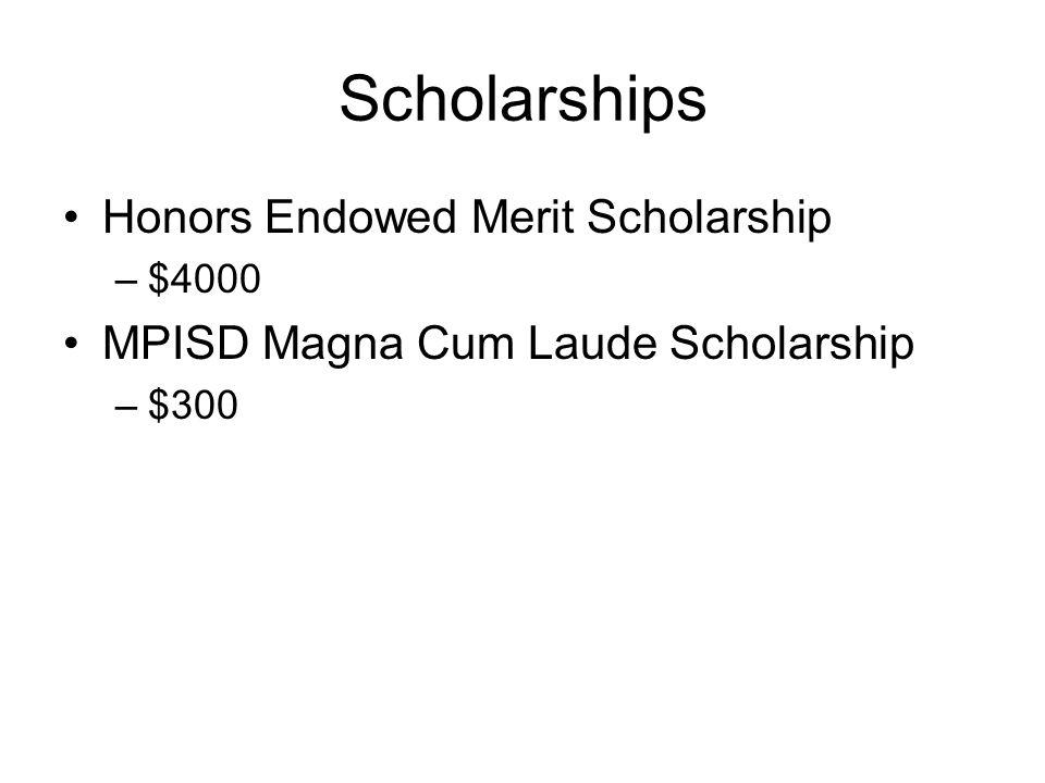 Scholarships Honors Endowed Merit Scholarship –$4000 MPISD Magna Cum Laude Scholarship –$300