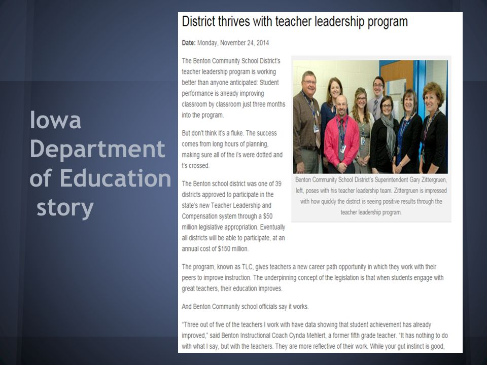 Iowa Department of Education story
