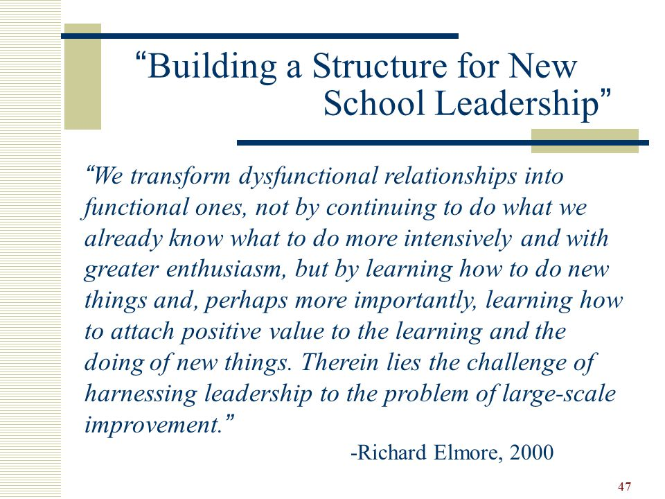 47 Building a Structure for New School Leadership We transform dysfunctional relationships into functional ones, not by continuing to do what we already know what to do more intensively and with greater enthusiasm, but by learning how to do new things and, perhaps more importantly, learning how to attach positive value to the learning and the doing of new things.