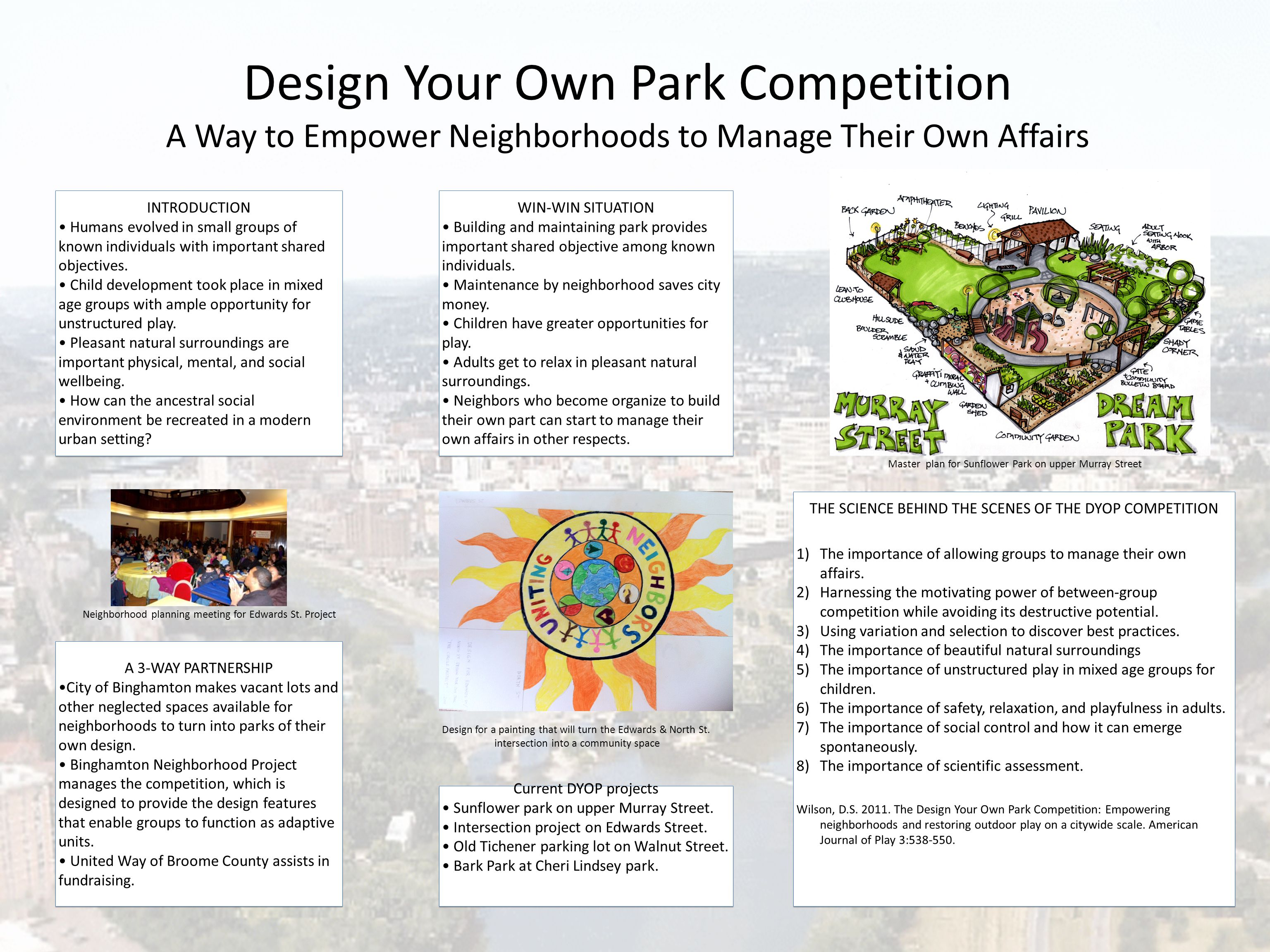 Design Your Own Park Competition A Way to Empower Neighborhoods to Manage Their Own Affairs INTRODUCTION Humans evolved in small groups of known indiv