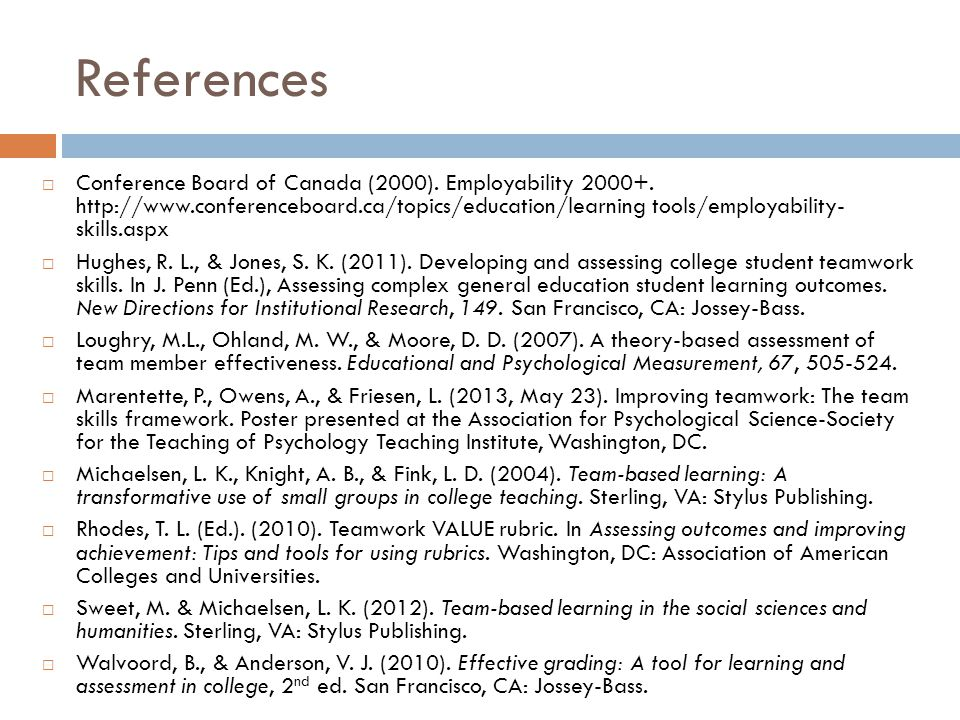 References  Conference Board of Canada (2000). Employability 2000+.