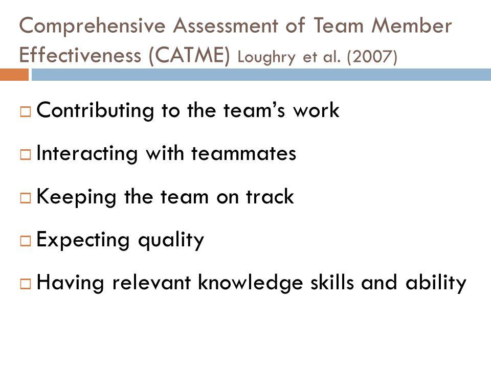 Comprehensive Assessment of Team Member Effectiveness (CATME) Loughry et al.