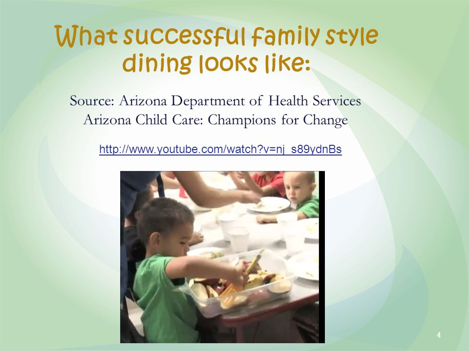 What successful family style dining looks like: http://www.youtube.com/watch v=nj_s89ydnBs Source: Arizona Department of Health Services Arizona Child Care: Champions for Change 4