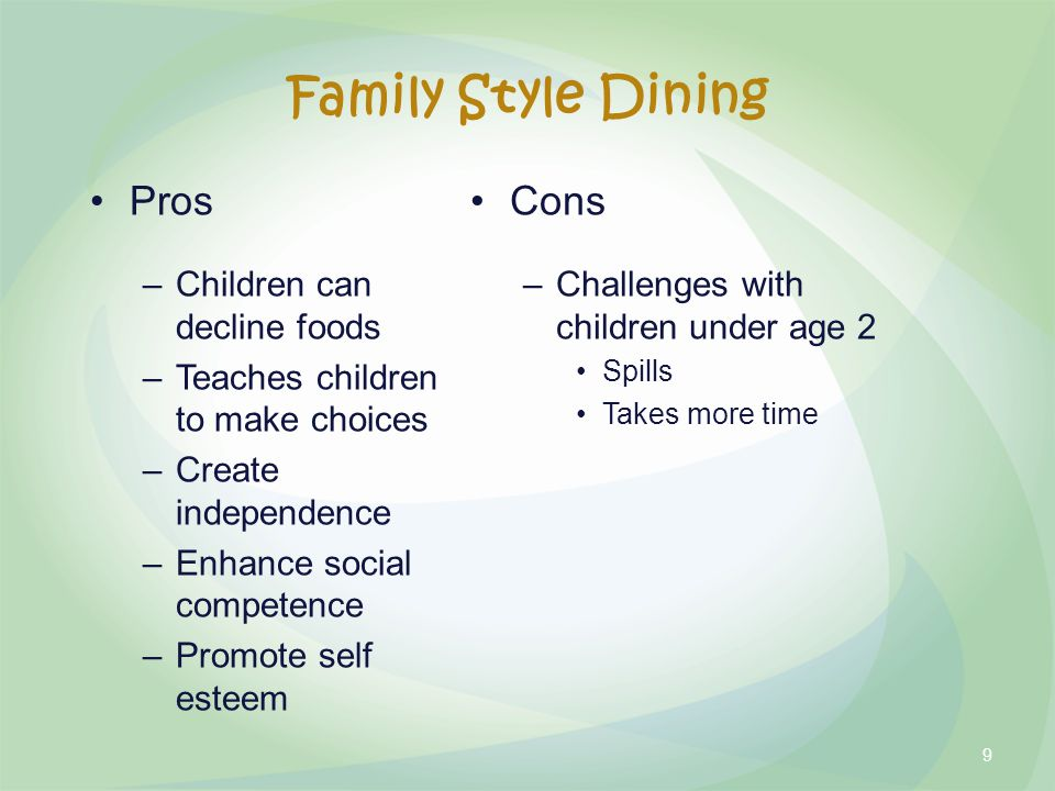 Family Style Dining Pros –Children can decline foods –Teaches children to make choices –Create independence –Enhance social competence –Promote self esteem Cons –Challenges with children under age 2 Spills Takes more time 9