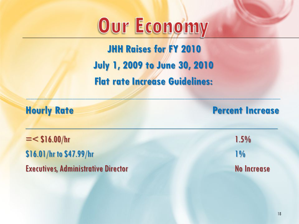JHH Raises for FY 2010 JHH Raises for FY 2010 July 1, 2009 to June 30, 2010 Flat rate Increase Guidelines: _____________________________________________________________ Hourly Rate Percent Increase _______________________________________________________ =< $16.00/hr1.5% $16.01/hr to $47.99/hr1% Executives, Administrative Director No Increase 18
