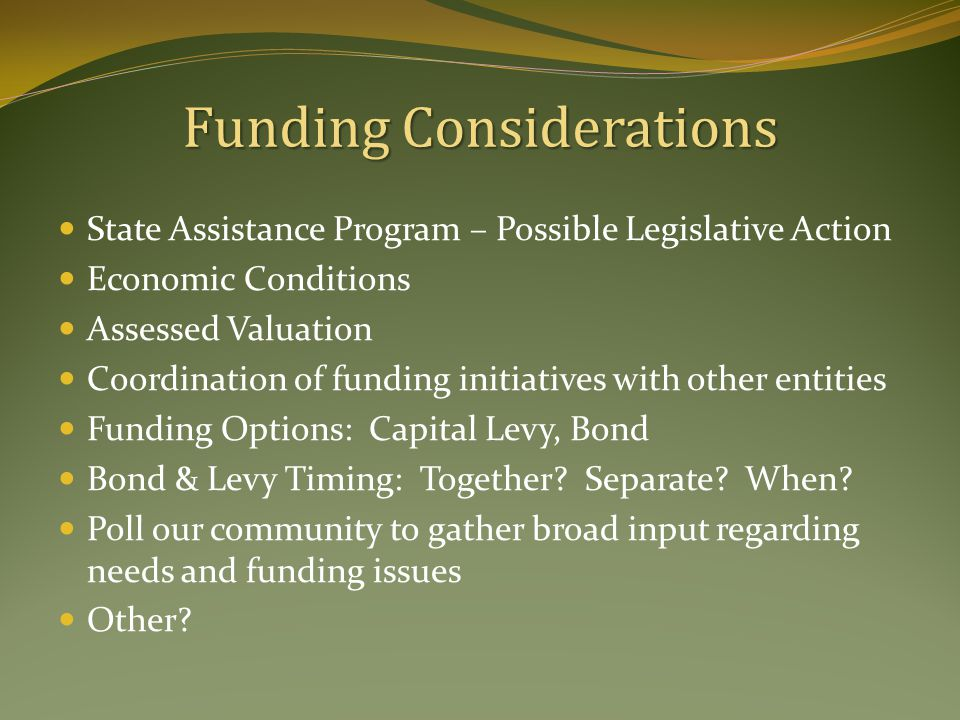 Funding Considerations State Assistance Program – Possible Legislative Action Economic Conditions Assessed Valuation Coordination of funding initiatives with other entities Funding Options: Capital Levy, Bond Bond & Levy Timing: Together.