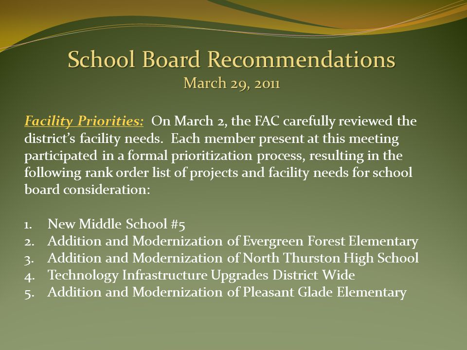 Facility Priorities: On March 2, the FAC carefully reviewed the district's facility needs.