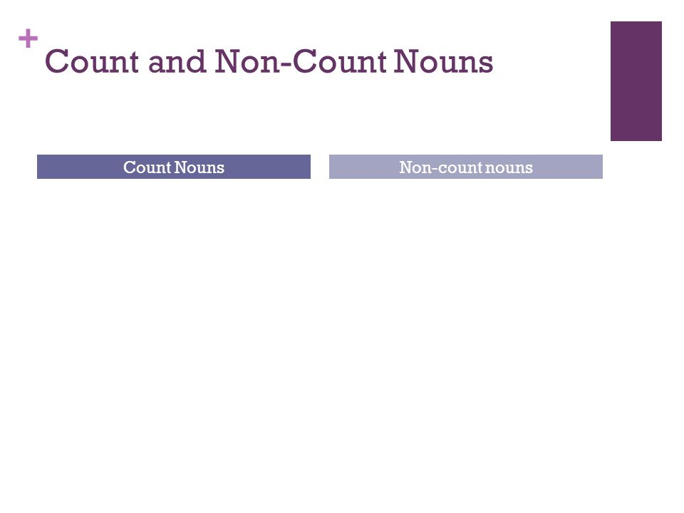 + Count and Non-Count Nouns Count NounsNon-count nouns