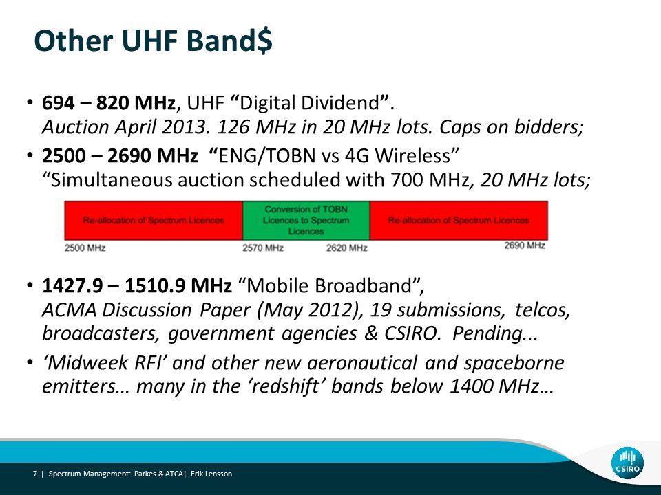 Other UHF Band$ 694 – 820 MHz, UHF Digital Dividend .