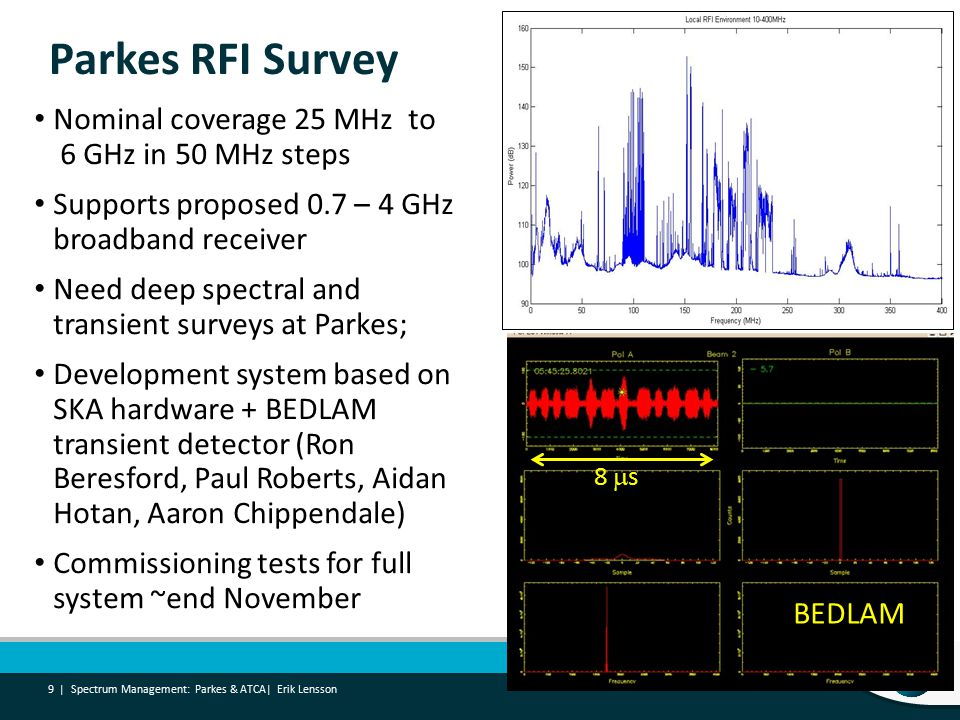 Parkes RFI Survey Nominal coverage 25 MHz to 6 GHz in 50 MHz steps Supports proposed 0.7 – 4 GHz broadband receiver Need deep spectral and transient surveys at Parkes; Development system based on SKA hardware + BEDLAM transient detector (Ron Beresford, Paul Roberts, Aidan Hotan, Aaron Chippendale) Commissioning tests for full system ~end November Spectrum Management: Parkes & ATCA| Erik Lensson 9 | BEDLAM 8  s